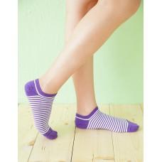 繽紛條紋船型薄襪-紫色