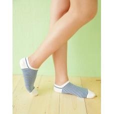 繽紛條紋船型薄襪-白色