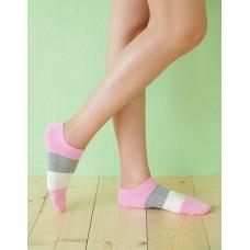 三色混搭船短襪-粉紅