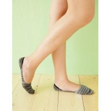 麻紗超低矽膠船短隱形襪-黑色