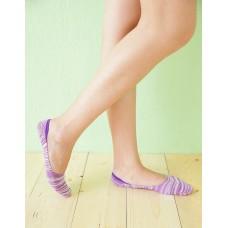 麻紗超低矽膠船短隱形襪-紫色