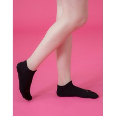 素色五趾船短薄襪-黑色