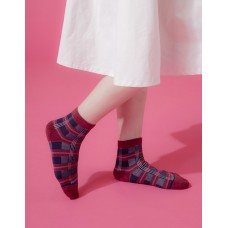 蘇格蘭風琴微分子長薄襪-磚紅邊