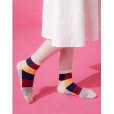 水彩調色盤微分子長薄襪-卡其邊