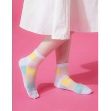 水彩調色盤微分子長薄襪-白黃
