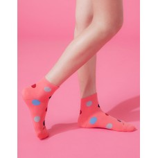 圓點氣泡微分子薄襪-桃紅
