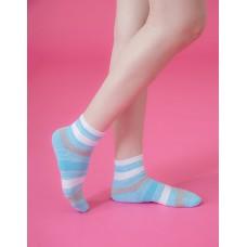 條紋甜心運動氣墊襪-淺藍