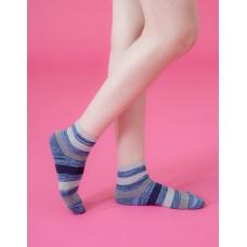條紋甜心運動氣墊襪-深藍
