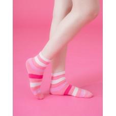 條紋甜心運動氣墊襪-粉紅