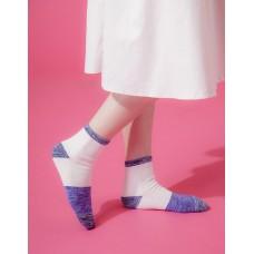 夜幕星雨運動氣墊襪-藍邊