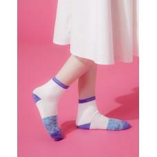 夜幕星雨運動氣墊襪-紫邊